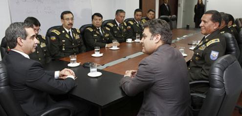 Presidente del Consejo de Judicatura, Dr. Gustavo Jalkh, recibió la visita protocolaria del Ministro del Interior, Dr. José Serrano y la cúpula policial