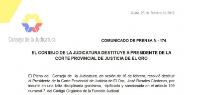 El Consejo de la Judicatura destituye a presidente de la Corte Provincial de Justicia de El Oro (Con versión Kichwa)